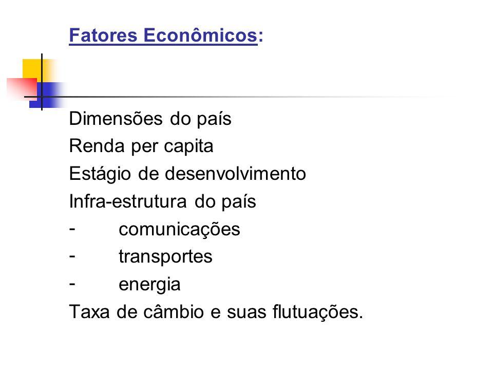 Fatores Econômicos: Dimensões do país. Renda per capita. Estágio de desenvolvimento. Infra-estrutura do país.