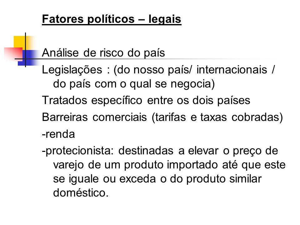 Fatores políticos – legais