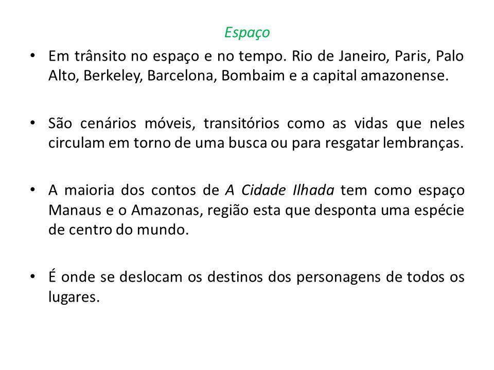Espaço Em trânsito no espaço e no tempo. Rio de Janeiro, Paris, Palo Alto, Berkeley, Barcelona, Bombaim e a capital amazonense.