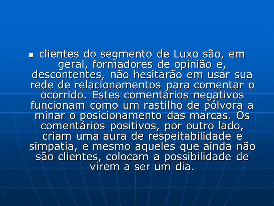 clientes do segmento de Luxo são, em geral, formadores de opinião e, descontentes, não hesitarão em usar sua rede de relacionamentos para comentar o ocorrido.