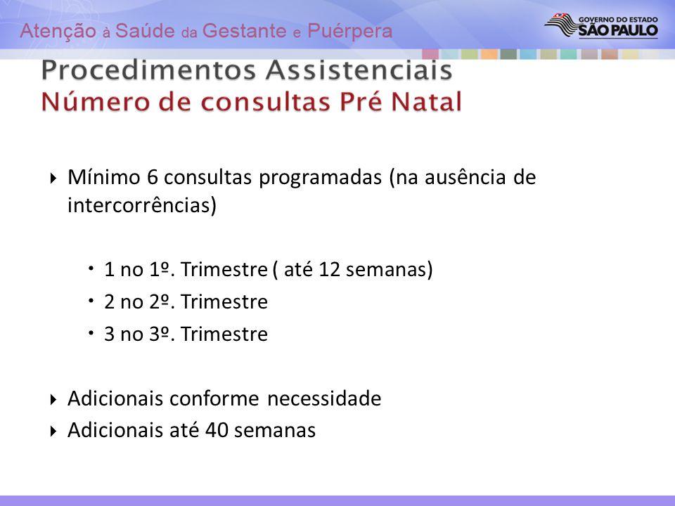 Mínimo 6 consultas programadas (na ausência de intercorrências)