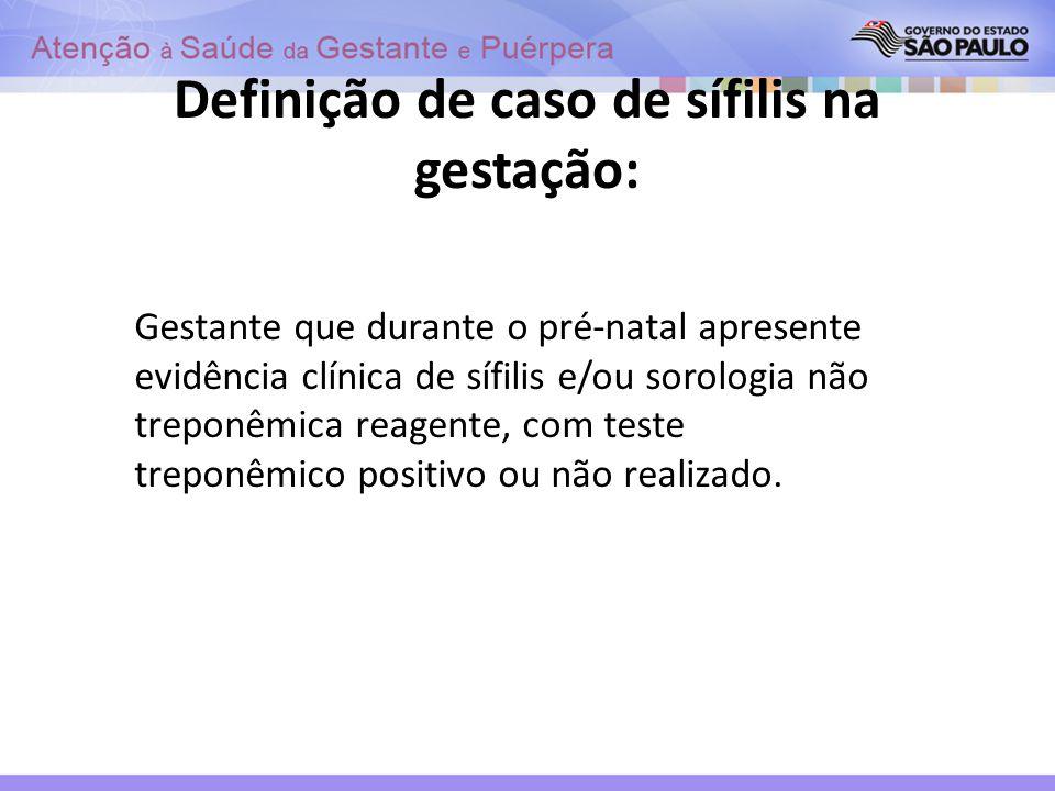 Definição de caso de sífilis na gestação: