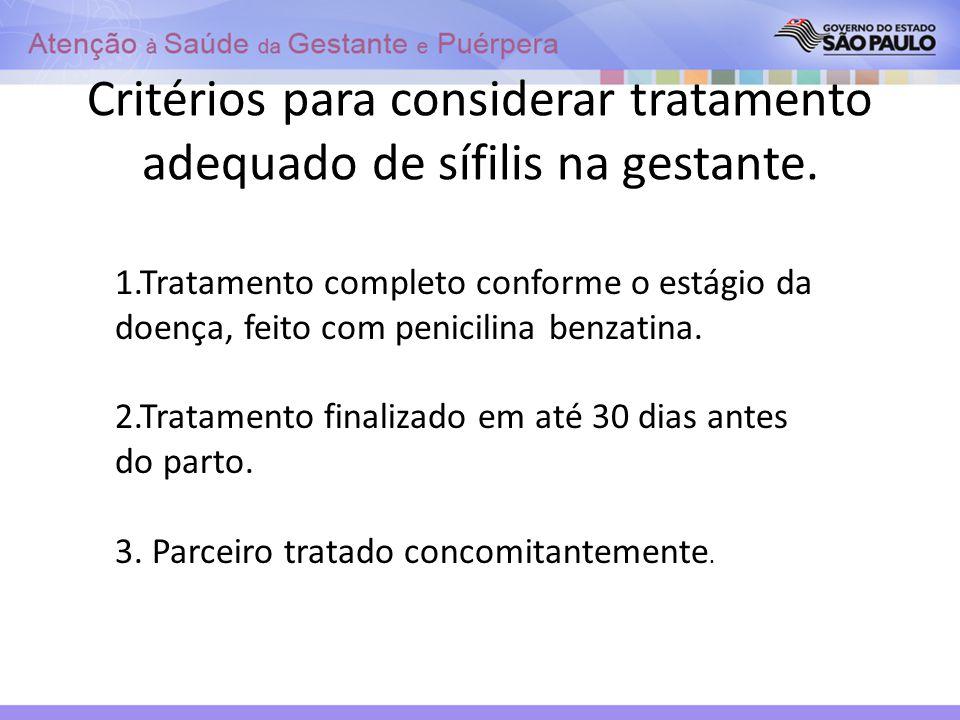 Critérios para considerar tratamento adequado de sífilis na gestante.