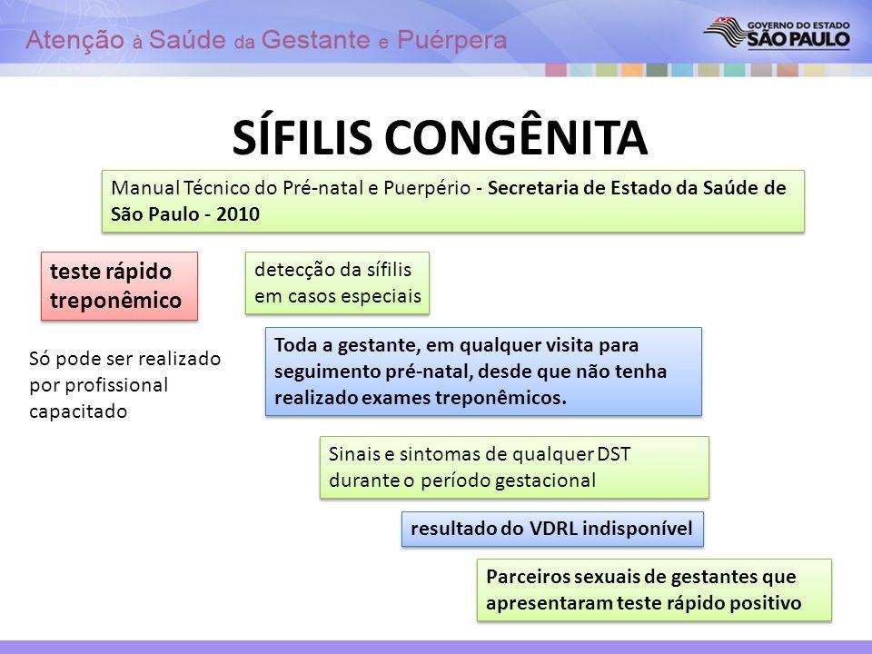 SÍFILIS CONGÊNITA teste rápido treponêmico