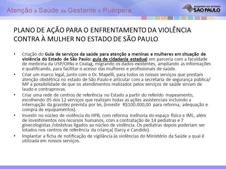 PLANO DE AÇÃO PARA O ENFRENTAMENTO DA VIOLÊNCIA CONTRA À MULHER NO ESTADO DE SÃO PAULO