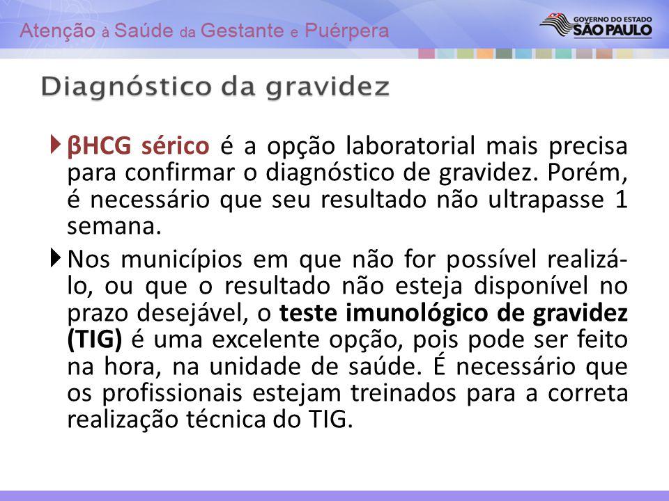 βHCG sérico é a opção laboratorial mais precisa para confirmar o diagnóstico de gravidez. Porém, é necessário que seu resultado não ultrapasse 1 semana.
