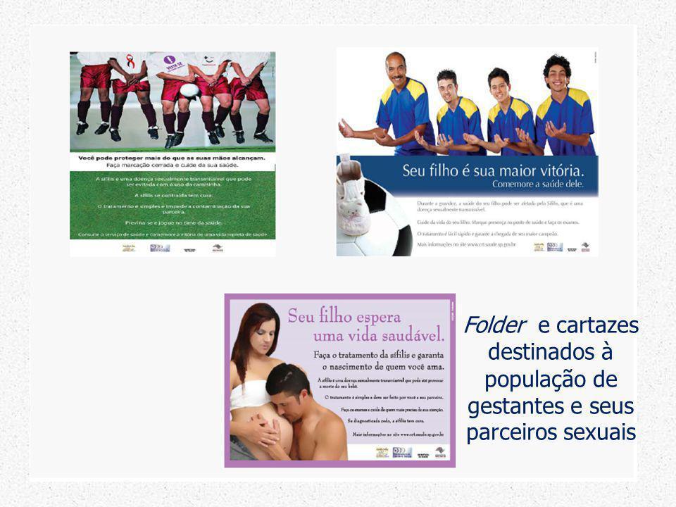 Folder e cartazes destinados à população de gestantes e seus parceiros sexuais