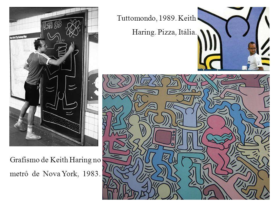Tuttomondo, 1989. Keith Haring. Pizza, Itália. Grafismo de Keith Haring no.