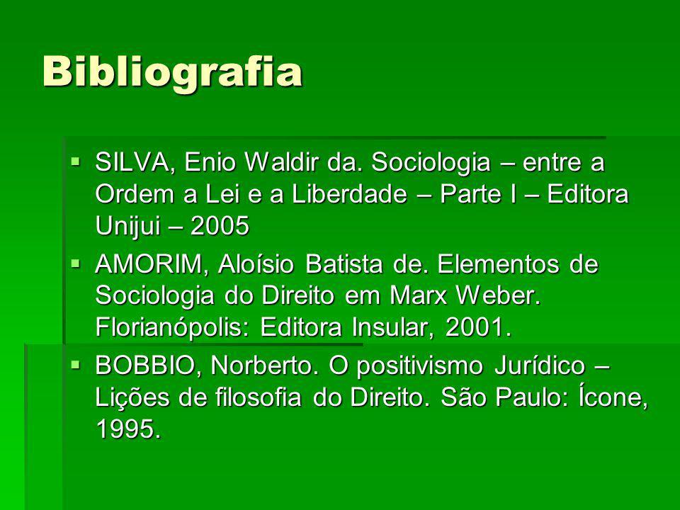 Bibliografia SILVA, Enio Waldir da. Sociologia – entre a Ordem a Lei e a Liberdade – Parte I – Editora Unijui – 2005.