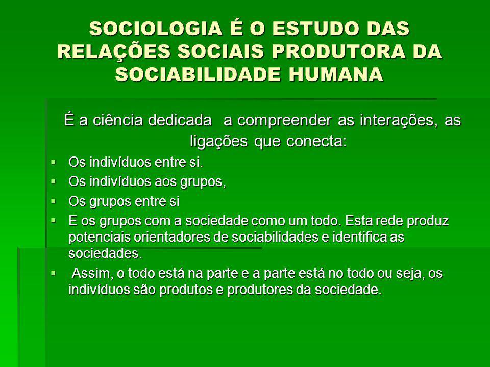 SOCIOLOGIA É O ESTUDO DAS RELAÇÕES SOCIAIS PRODUTORA DA SOCIABILIDADE HUMANA