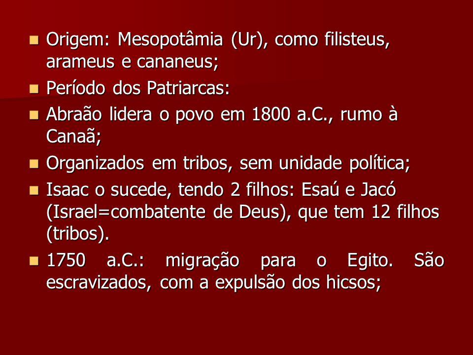 Origem: Mesopotâmia (Ur), como filisteus, arameus e cananeus;