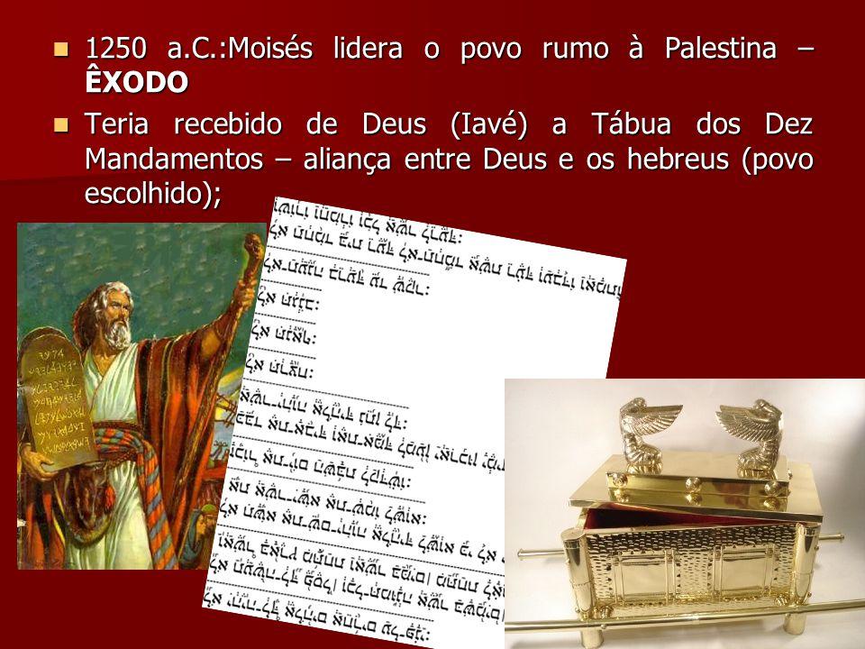 1250 a.C.:Moisés lidera o povo rumo à Palestina – ÊXODO