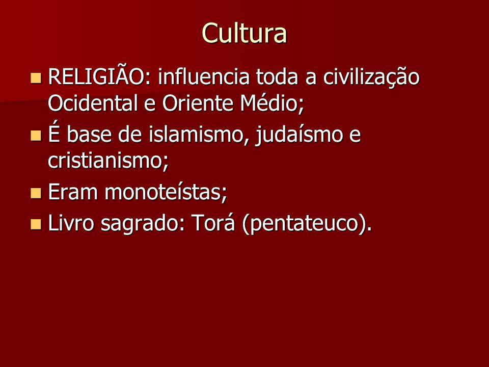 Cultura RELIGIÃO: influencia toda a civilização Ocidental e Oriente Médio; É base de islamismo, judaísmo e cristianismo;