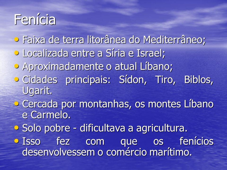 Fenícia Faixa de terra litorânea do Mediterrâneo;