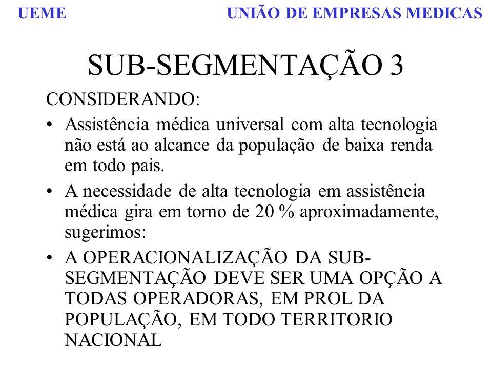 SUB-SEGMENTAÇÃO 3 CONSIDERANDO: