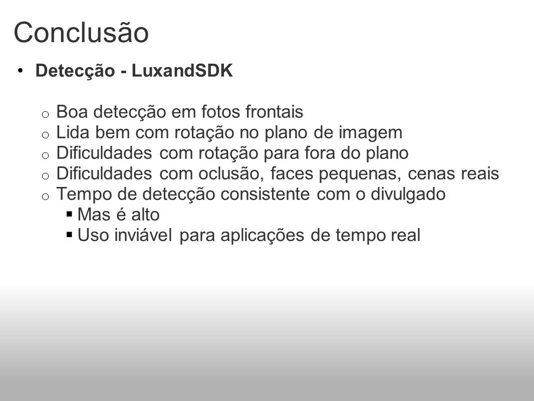 Conclusão Detecção - LuxandSDK Boa detecção em fotos frontais