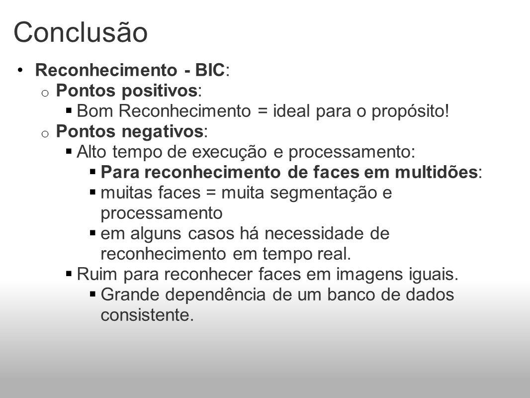 Conclusão Reconhecimento - BIC: Pontos positivos: