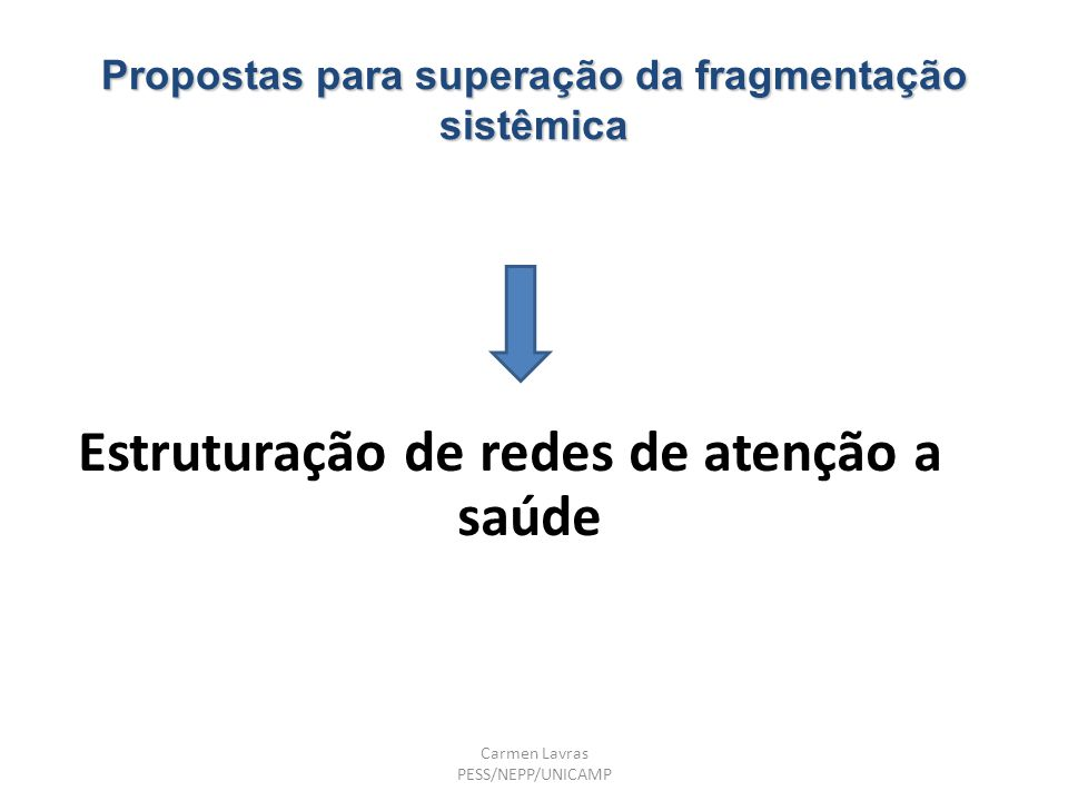 Propostas para superação da fragmentação sistêmica