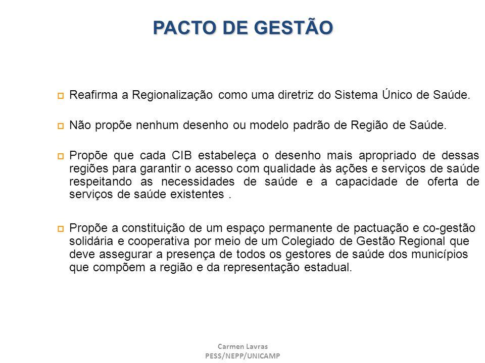 PACTO DE GESTÃO Reafirma a Regionalização como uma diretriz do Sistema Único de Saúde.