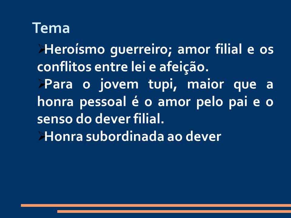 Tema Heroísmo guerreiro; amor filial e os conflitos entre lei e afeição.