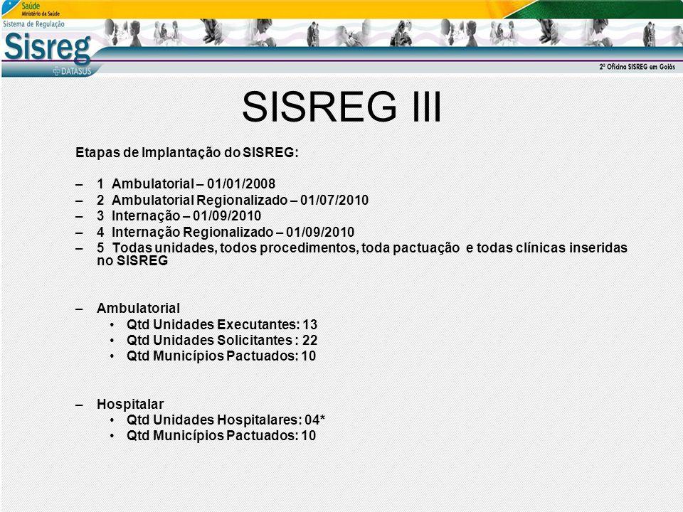 SISREG III Etapas de Implantação do SISREG: