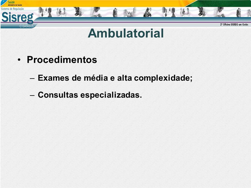 Ambulatorial Procedimentos Exames de média e alta complexidade;