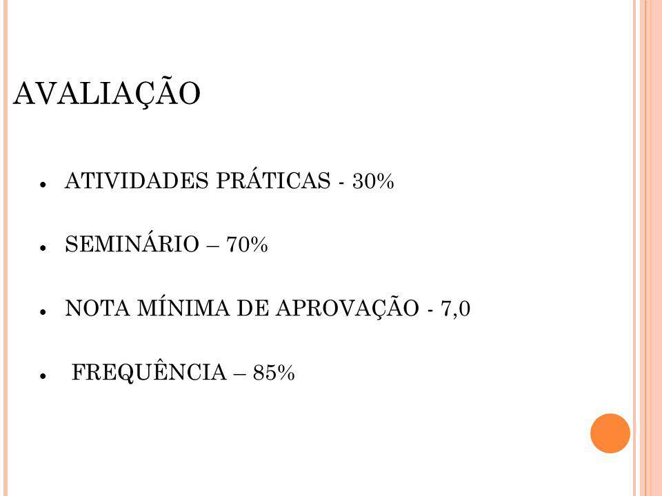 AVALIAÇÃO ATIVIDADES PRÁTICAS - 30% SEMINÁRIO – 70%