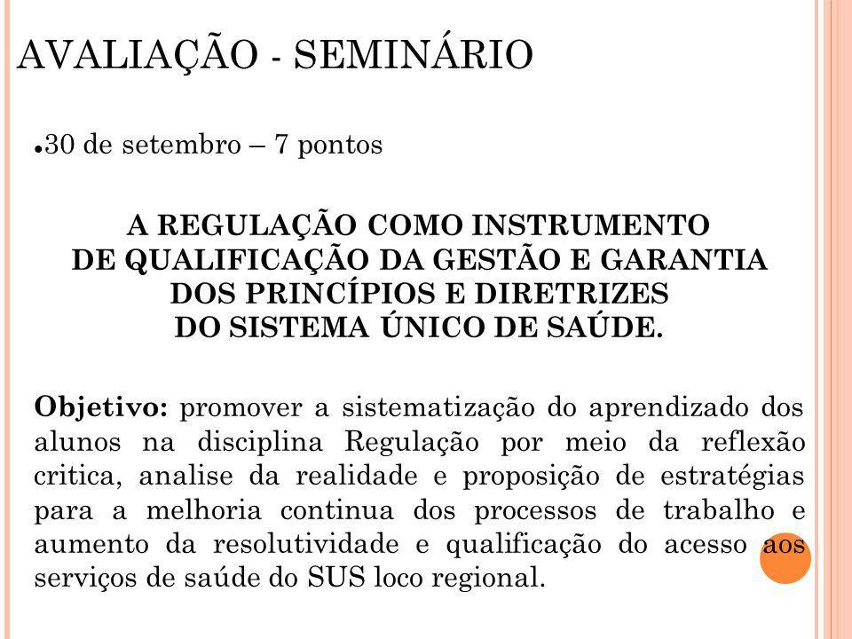 AVALIAÇÃO - SEMINÁRIO 30 de setembro – 7 pontos