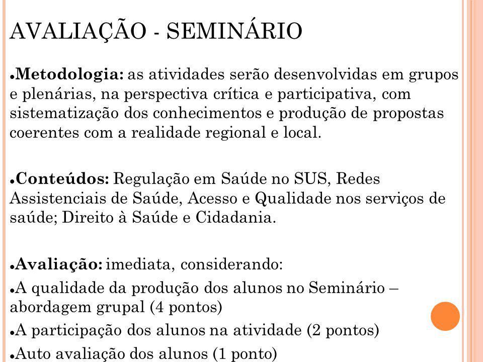 AVALIAÇÃO - SEMINÁRIO