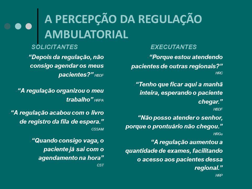 A PERCEPÇÃO DA REGULAÇÃO AMBULATORIAL