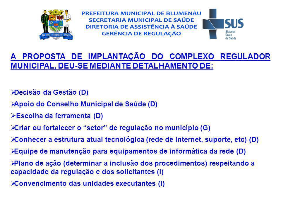 A PROPOSTA DE IMPLANTAÇÃO DO COMPLEXO REGULADOR MUNICIPAL, DEU-SE MEDIANTE DETALHAMENTO DE: