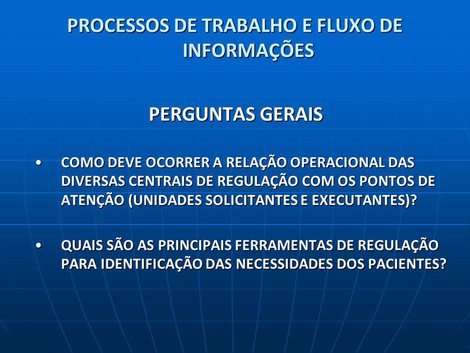 PROCESSOS DE TRABALHO E FLUXO DE INFORMAÇÕES