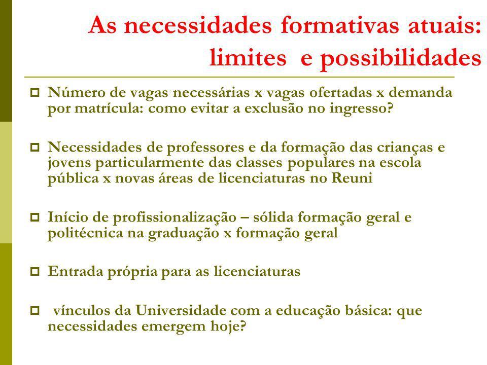 As necessidades formativas atuais: limites e possibilidades