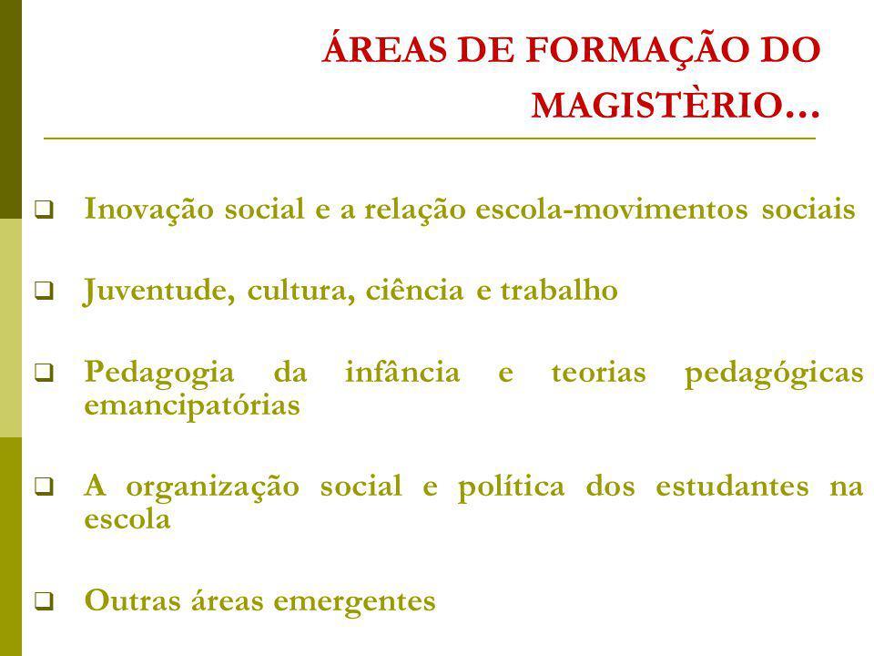 ÁREAS DE FORMAÇÃO DO MAGISTÈRIO...