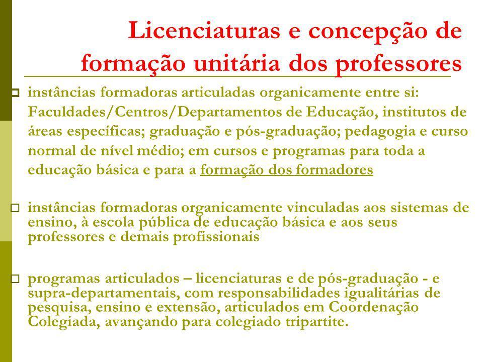 Licenciaturas e concepção de formação unitária dos professores