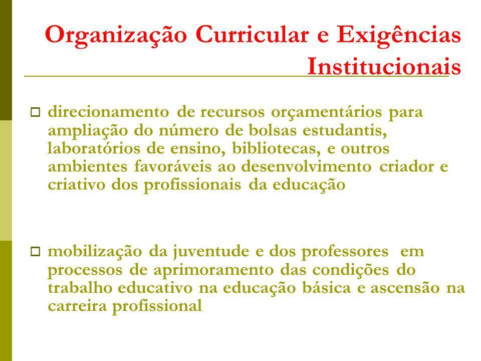 Organização Curricular e Exigências Institucionais