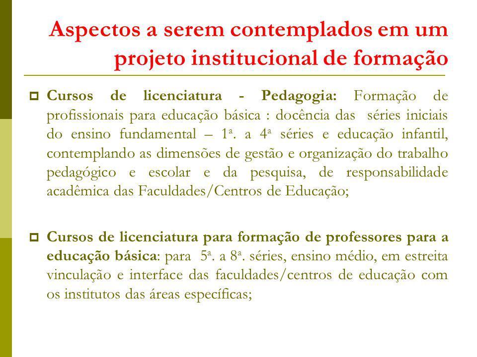 Aspectos a serem contemplados em um projeto institucional de formação