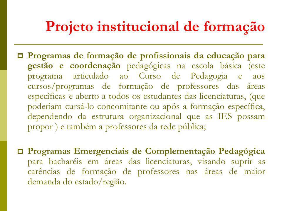 Projeto institucional de formação