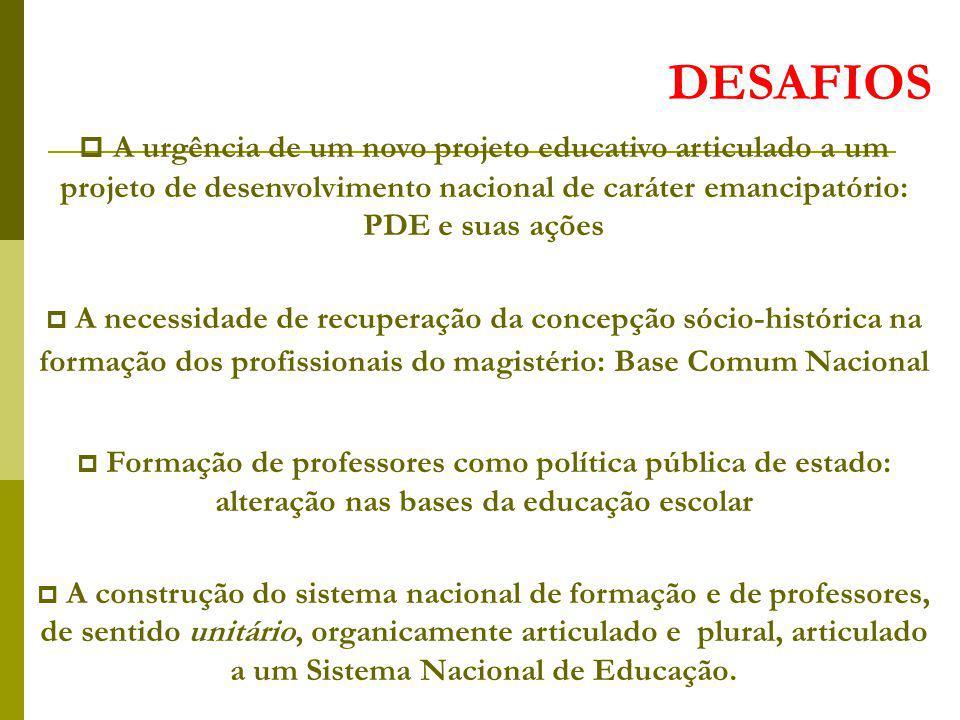 DESAFIOS A urgência de um novo projeto educativo articulado a um projeto de desenvolvimento nacional de caráter emancipatório: PDE e suas ações.