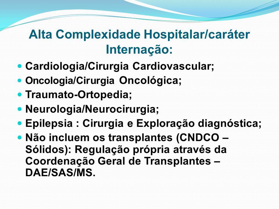 Alta Complexidade Hospitalar/caráter Internação: