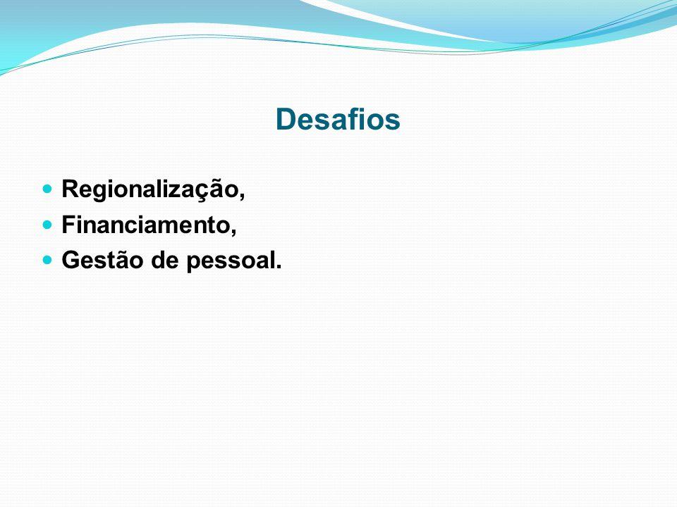 Desafios Regionalização, Financiamento, Gestão de pessoal.