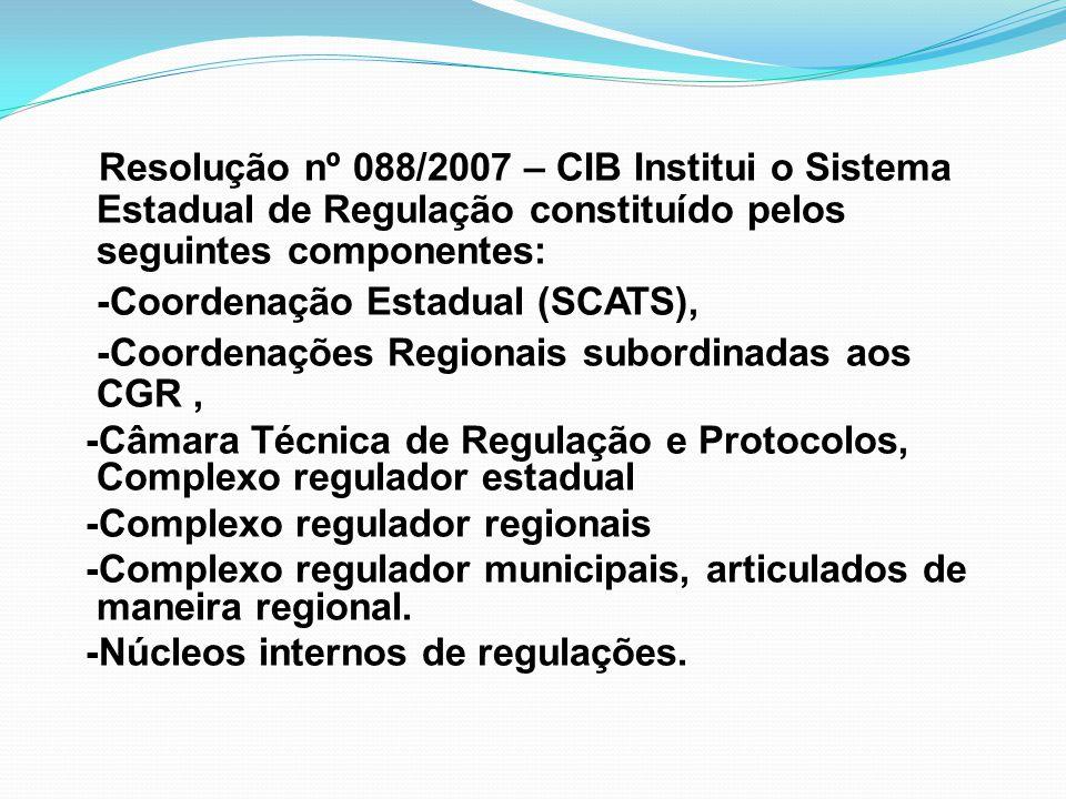 Resolução nº 088/2007 – CIB Institui o Sistema Estadual de Regulação constituído pelos seguintes componentes: