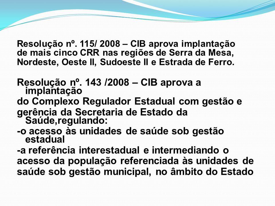 Resolução nº. 143 /2008 – CIB aprova a implantação