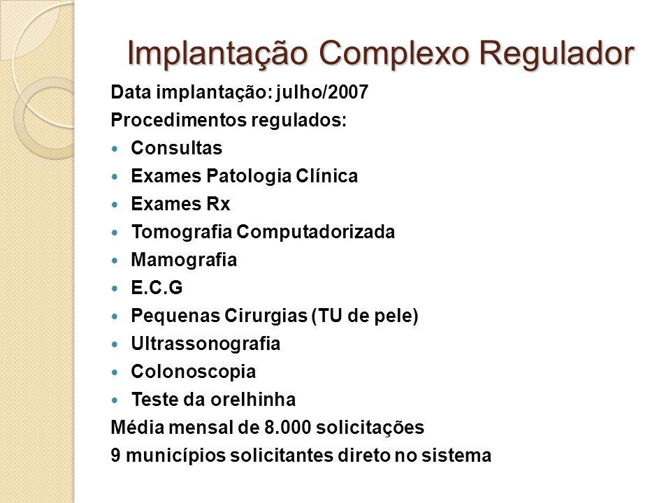 Implantação Complexo Regulador