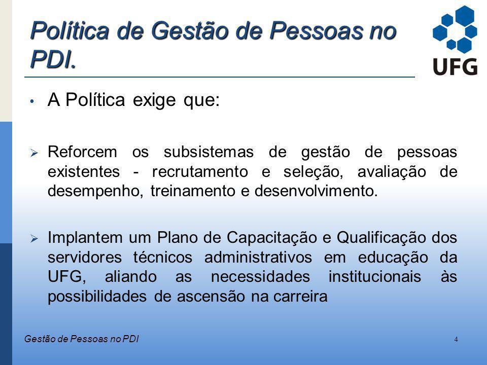 Política de Gestão de Pessoas no PDI.