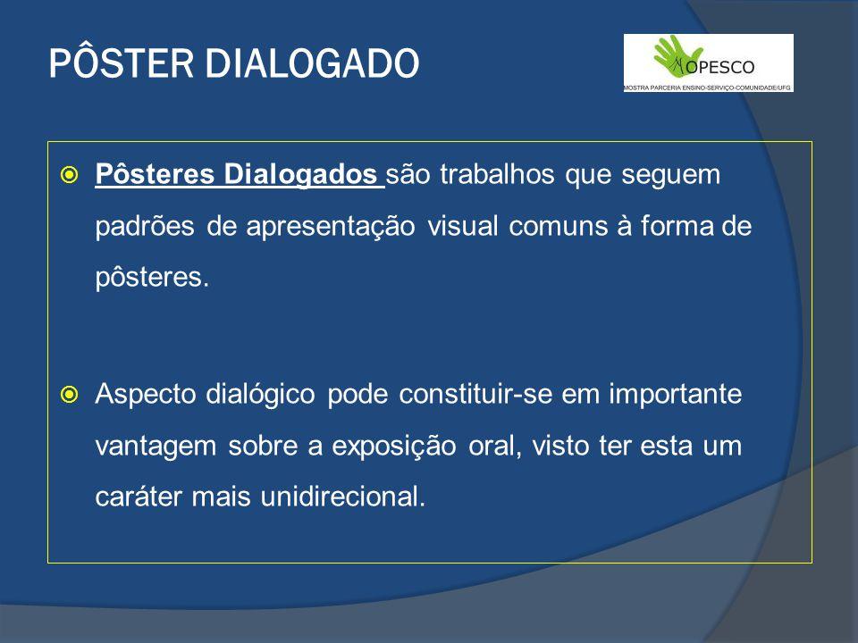 PÔSTER DIALOGADO Pôsteres Dialogados são trabalhos que seguem padrões de apresentação visual comuns à forma de pôsteres.