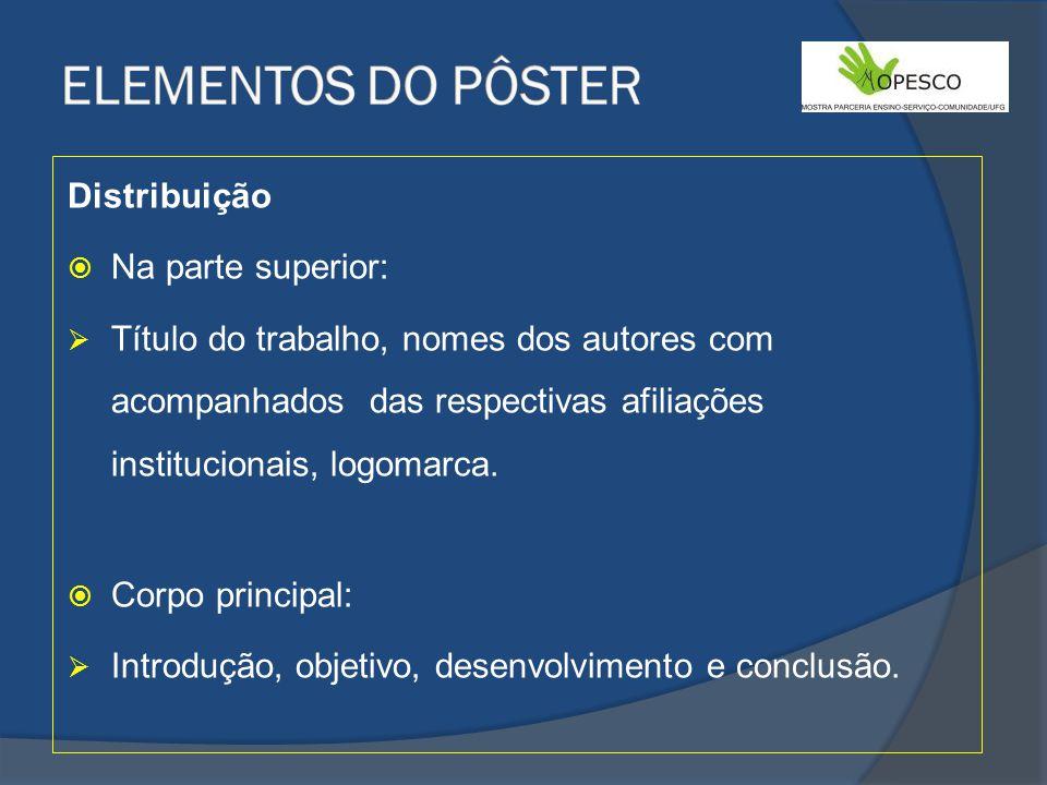 ELEMENTOS DO PÔSTER Distribuição Na parte superior: