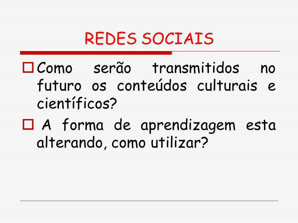 REDES SOCIAIS Como serão transmitidos no futuro os conteúdos culturais e científicos.