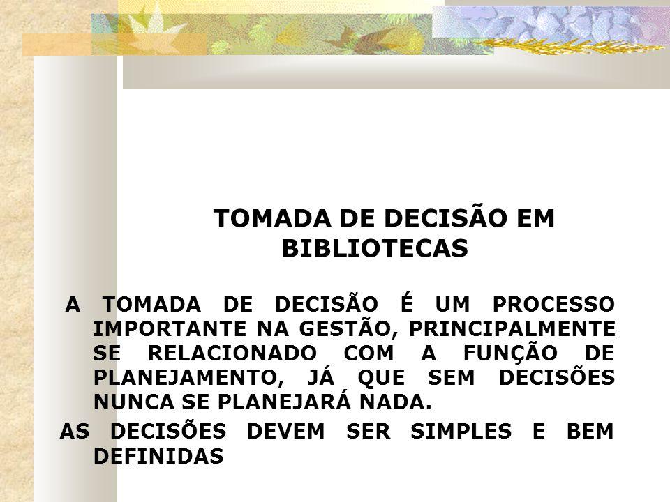 TOMADA DE DECISÃO EM BIBLIOTECAS