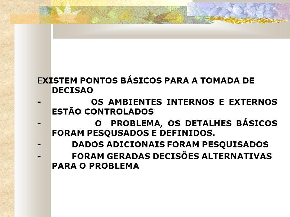 EXISTEM PONTOS BÁSICOS PARA A TOMADA DE DECISAO